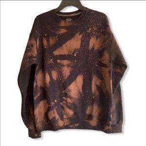 Acid bleached crewneck sweater medium vintage